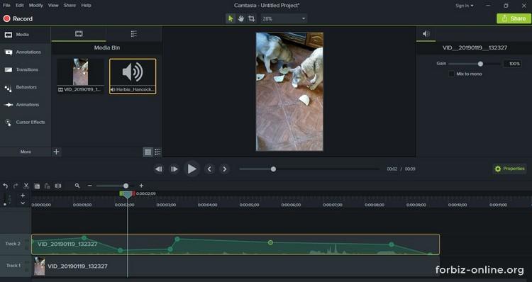 Как пользоваться Camtasia 9.0: изменение уровня звука в разных частях аудио