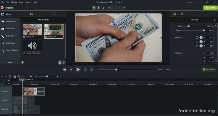 Как пользоваться Camtasia 9.0: как сделать кадр в кадре