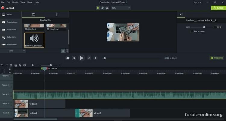 Как пользоваться Camtasia 9.0: добавляем аудио