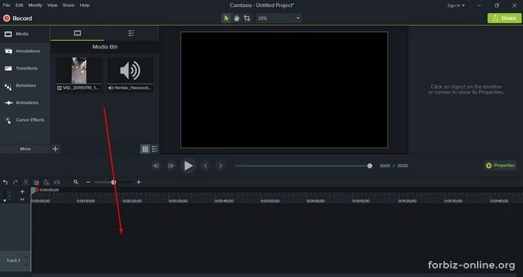 Как пользоваться Camtasia 9.0: как добавить файлы на дорожку для монтажа