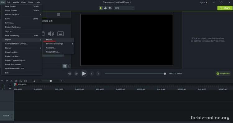 Как пользоваться Camtasia 9.0: как загрузить видео