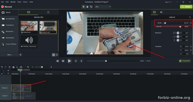 Как пользоваться Camtasia 9.0: кадр в кадре