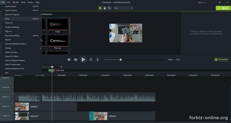 Как пользоваться Camtasia 9.0: сохраняйте проект в процессе монтажа