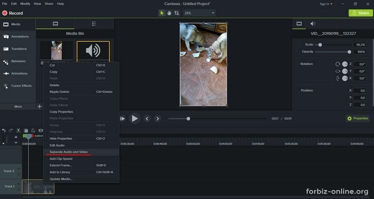 Как пользоваться Camtasia 9.0: как отделить видео от аудио