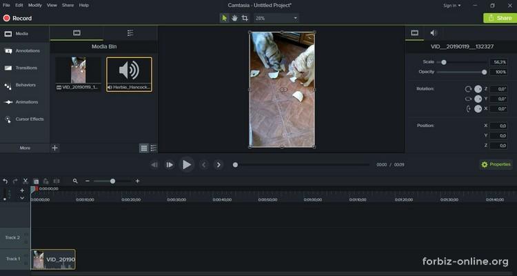 Как пользоваться Camtasia 9.0: дорожка с видео